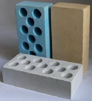 Фото силикатного кирпича гиперпрессованного синего, коричневого и серого цветов